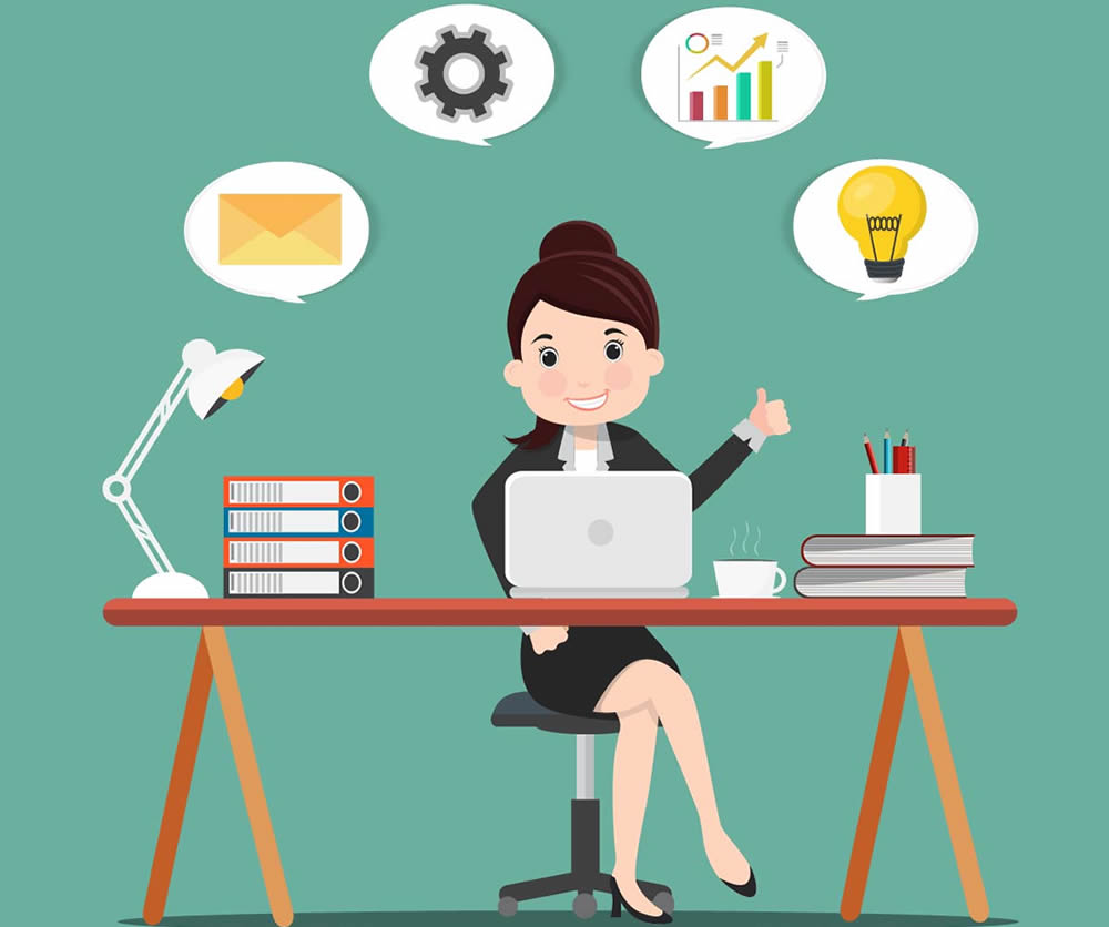 Cartoon business woman sitting at a work desk with laptop