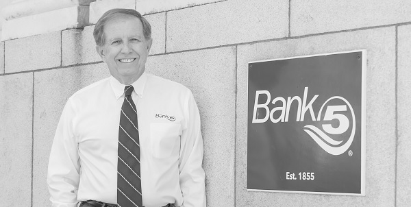 BankFive President Bill Eccles standing in front of BankFive's main office in Fall River, MA
