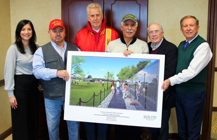 BankFive Group Photo Check Presentation Veterans Wall
