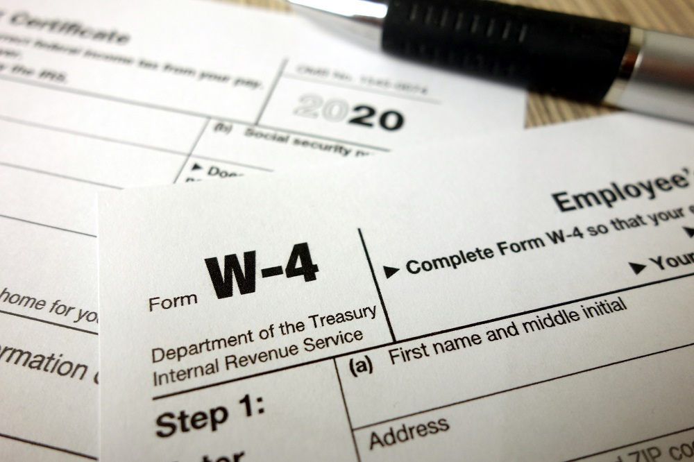 Close up of Form W-4