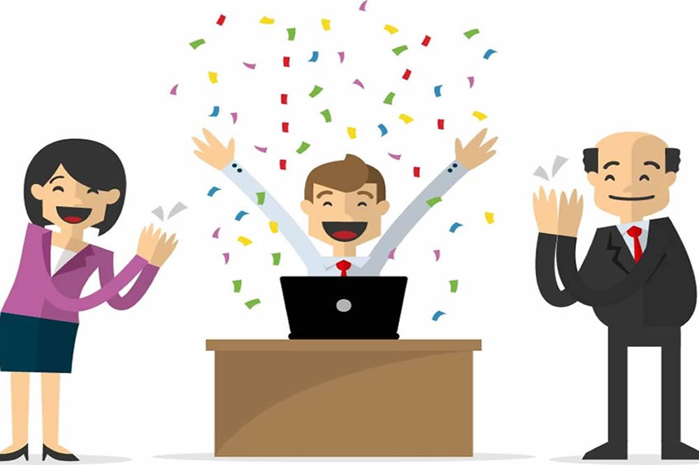 cartoon graphic of employees celebrating the promotion of a colleague